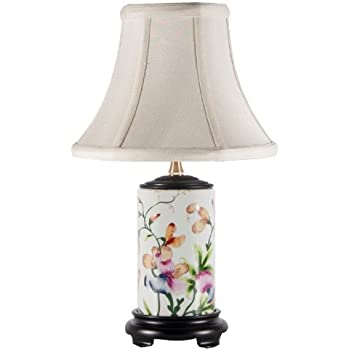 Floral Scalloped Porcelain Tea Jar Table Lamp - French Table Lamps ...