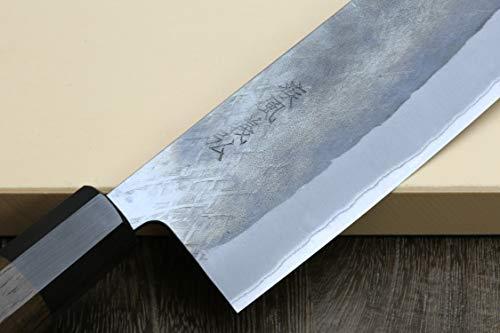 Yoshihiro Kurouchi Black-Forged Blue Steel Stainless Clad Nakiri Japanese Vegetable Knife (6.5'' (165mm) & Saya) by Yoshihiro (Image #3)