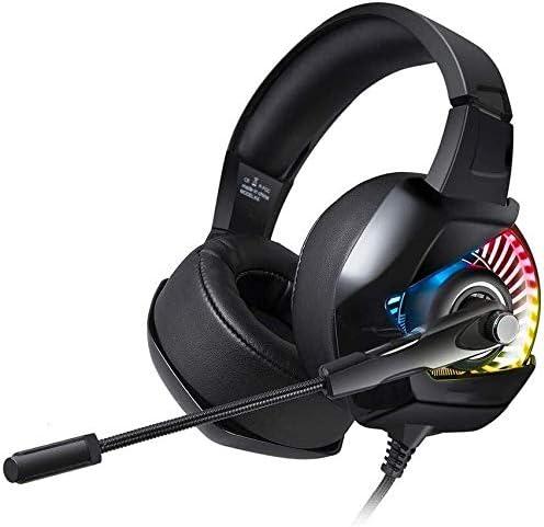 RENKUNDE コンフォートのためのヘッドフォンイヤーパッドを搭載したコンピュータゲーミングヘッドセットブラックカラーヘイロー調整可能ヘッドフォン ゲーミングヘッドセット