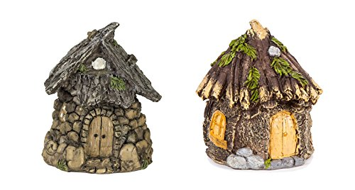 Maven Gifts Darice Miniature Enchanted Cottage Gnome Hobbit Fairy (Stone House) and Darice Miniature Enchanted Cottage Gnome Hobbit Fairy (Shabby House) Bundled