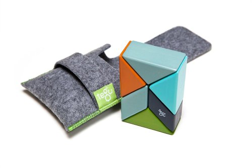 6 Piece Tegu Pocket Pouch Prism Magnetic Wooden Block Set, Nelson (Prism Bricks)