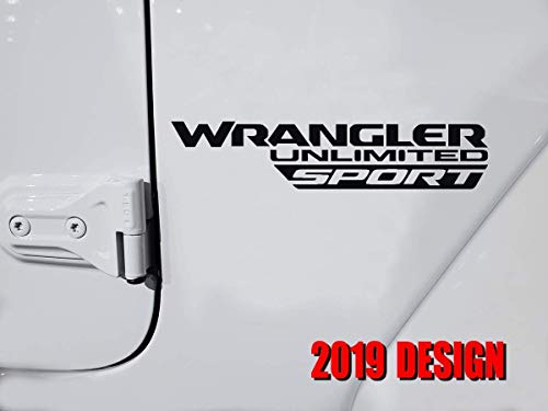 "2 pcs NEW 2019 ""WRANGLER UNLIMITED SPORT"" fender decal / sticker compatible with 2018 2019 Jeep wrangler Rubicon hood door window (MULTI-COLOR)"