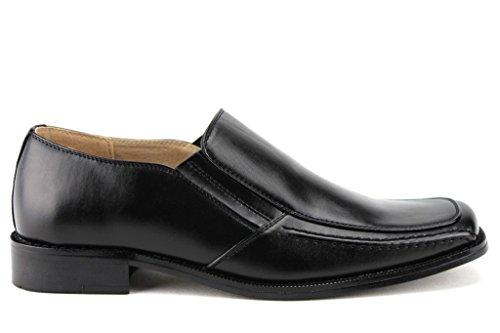 Majestetiske Menns 35162 Skinn Foret Klassiske Slip På Squared Toe Loafers Sko Svart