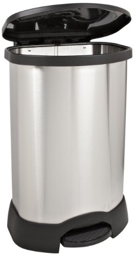 Rubbermaid Commercial Step-On Container, Oval, Stainless Steel, 30 Gallons, Black (614787BK)