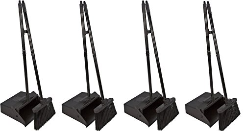 Carlisle 36141503 Duo-Pan Dustpan & Lobby Broom Combo, 3 Foot Overall Height, Black (4 DUSTPAN COMBOS) by Carlisle