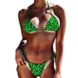 VonVonCo Women Leopard Print Bikini Set Swimming Two Piece Swimsuits Swimwear Beach Suit Green