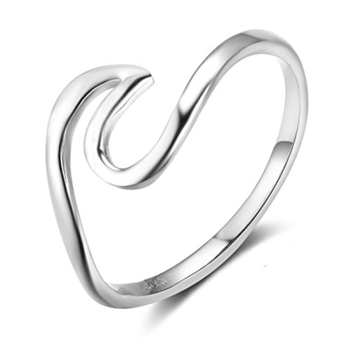 (HOMEYU® Chic 925 Sterling Silver Wave Cut Girl Ring Wave Design Rings For Women)