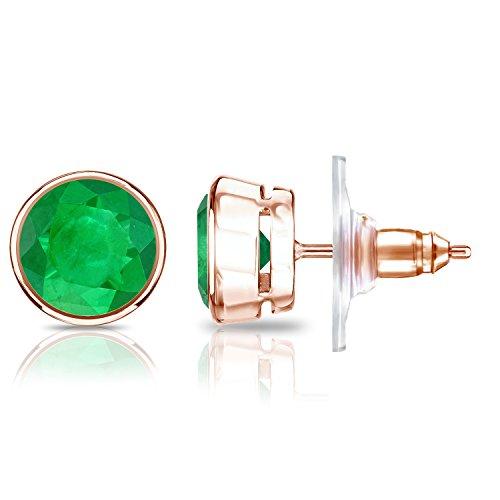 set round Green Emerald Gemstone Stud Earrings (1 cttw) ()