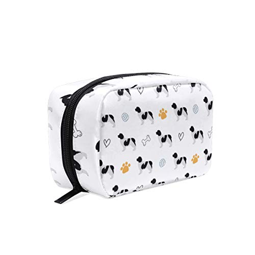 Makeup Pouch Newfoundland Dog Silhouette Travel Cosmetic Bag Portable Toiletry Organizer for Women Girls
