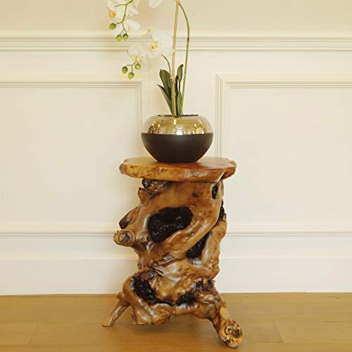 (WELLAND Tree Stump Side Table, Live Edge Stool, Natural Edge Wood Side Table, Accent Table, 19