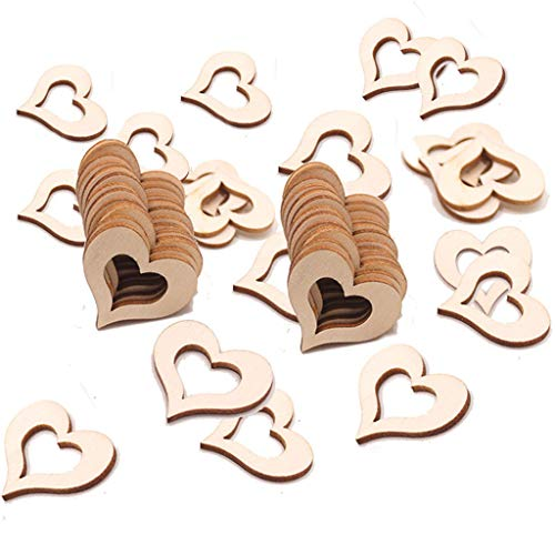 - Maikouhai 50 Pcs Wedding Table Decorations Hollow Rustic Vintage Wooden Hearts Love Confetti Seats Reminder for Card, Embellishments, Scrap Booking, Signs - 30x27mm