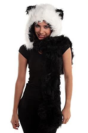 Faux FUR ANIMAL HATS HOODS PANDA WITH MITTENS ski UNISEX GLOVES SCARF WITH PAWS