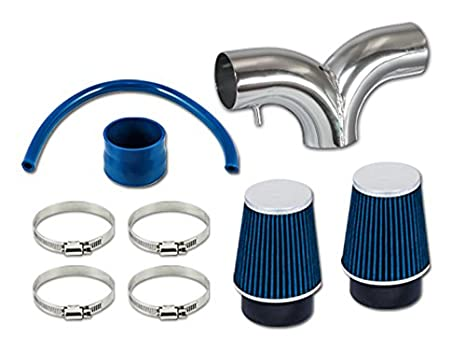 AIR INTAKE System+BLUE Dual Twin Filter For 04-09 Dodge Dakota 3.7L 4.7L