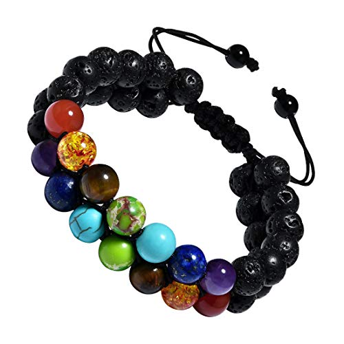 CAT EYE JEWELS 8mm Natural Healing Stones Beads Bracelet Double Triple Layered Adjustable Macrame Mens Bracelet