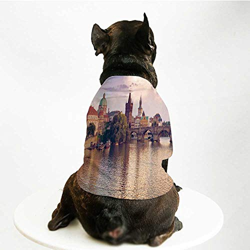 YOLIYANA Landscape Skin Friendly Pet Suit,Pastoral View at Charles Bridge Spires of Prague Central Europe Gothic Buildings Image for Pet Dogs,M -