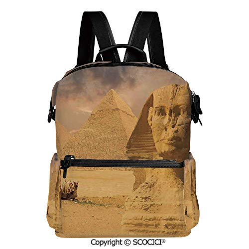 SCOCICI Stylish Bookbags Child Back to School Gift,The Great Sphinx Face with Other Pyramids in Egypt Old Historical Monument,L11.4xW6.3xH15 Inches