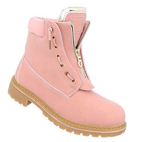 Schuhcity24 Damen Schuhe Stiefeletten Schnürer Boots Rosa