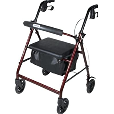 Drive Medical Aluminum Rollator Walker Fold Up and Removable Back Support, Padded Seat, Wheels, 6 Inch