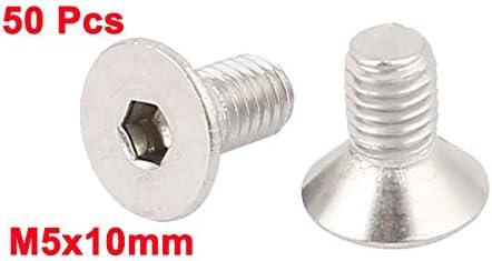 uxcell M5x10mm ステンレス鋼 六角 フラット ヘッド 皿ボルト ネジ 50個