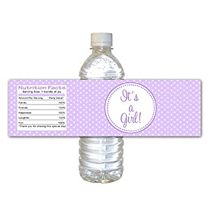 30 Water Bottle Labels Waterproof Baby Girl Shower Purple White Polka Dots Wrappers