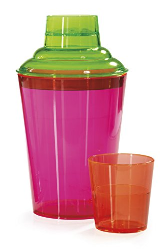 - 17.5 Ounces. 3 Piece. Shaker Set for Cocktails or Martinis, Clear, Break Resistant Plastic, , Neon, Pink, GET SH-175-NEON-EC (Pack of 4)