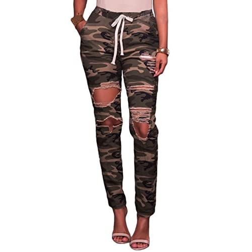 d40db3ecdd7 durable modeling Women Cotton Destroyed Ripped Hole Camouflage Style  Stretch Long Pocket Trousers Pencil Pants Leggings
