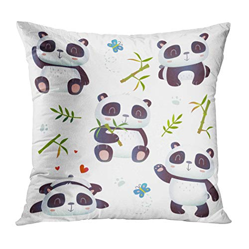 Moladika Throw Pillow Cover 20x20 Inch Square Cartoon Style Effect Cute Cushion Home Decor Living Room Sofa Bedroom Office Polyester Pillowcase]()