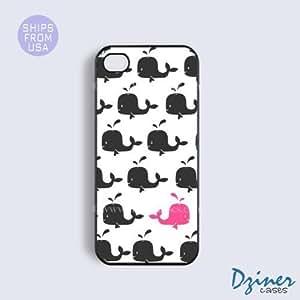 iPhone 5c Tough Case - Black Pink Whale Cute Design iPhone Cover