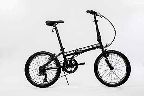 "EuroMini Campo Lightweight Aluminum Frame Shimano 7 Speed 28Lb Folding Bike, Matte Black, 11""/One Size"