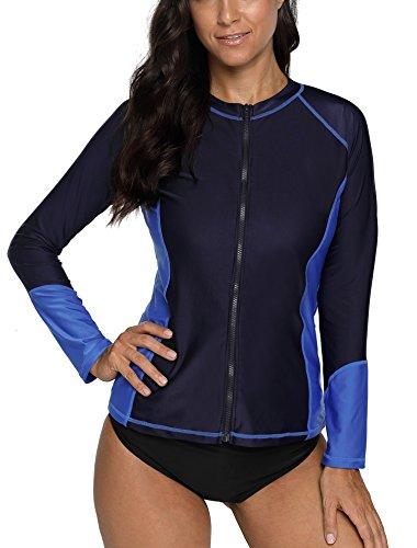 Suit Paddling (CharmLeaks Women Zipper Rash Guard Sunblock Swimsuit top Long Sleeves SPF Swimwear Navy M)