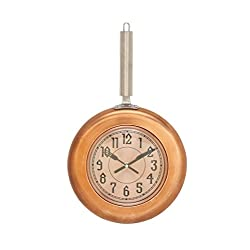 Deco 79 98440 Copper Iron Wall Clock, 17 x 10, Silver/Black