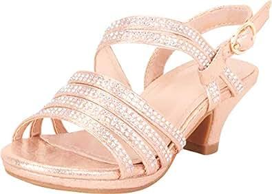Cambridge Select Girls' Open Toe Strappy Crystal Rhinestone Low Heel Sandal (Toddler/Little Kid/Big Kid) Gold Size: 2 Little Kid