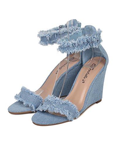 Alrisco Vrouwen Gerafeld Denim Sleehak Sandaal - Enkelband Sleehak - Minimalistische Enkelzool Hiel - Ha99 Door Breckelles Collectie Blauw Denim