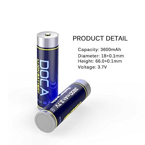 18650 Rechargeable Battery 3.7V 3600mAh Li-on Rechargeable Battery,Li-ion Battery Packs for Flashlight,Headlamps,Bike Light(2 Pcs) by DOCA (Image #2)