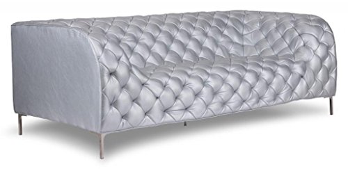 English Modern Tufted Club Sofa, Silver