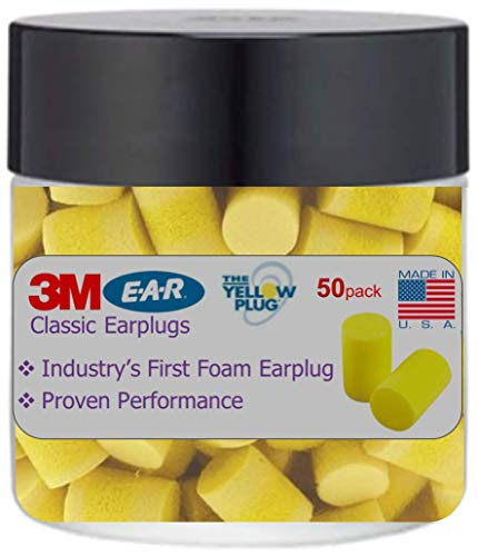 3M Classic Ear Plugs, Foam Earplugs for Noise Reduction and Sleep 50 Count in a Jar by 3M Protective Equipment (Image #1)