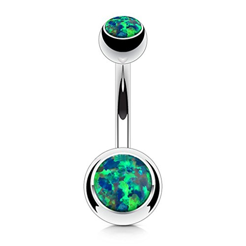 - Fifth Cue Opal Set Double Jeweled 316L Surgical Steel Naval Belly Button Ring (Opal Green)