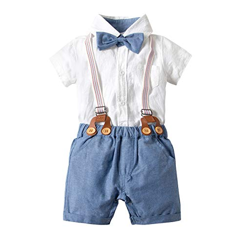 Baby Boys Gentleman Outfits Suits Baby Boy White Romper+Shorts+Bow Tie+Suspender Set Infant Boy Jumpsuit Onesies Baby Formal Wear (White 12-18)