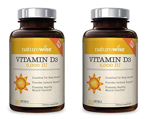 NatureWise Vitamin D3 5,000 IU for Healthy Muscle Function, Bone Health, Immune Support | Non-GMO in Cold-Pressed Organic Olive Oil & Gluten-Free (Packaging May Vary) (2 Packs of 360 Count)