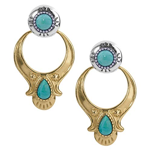 American West Sterling Silver and Brass Multi Gemstone Choice of 4 Different Colors Doorknocker Style Earrings