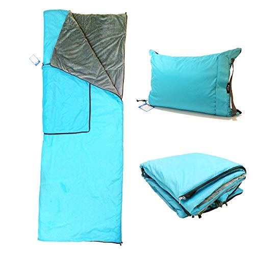 Vigor Multifunctional 3 in 1 Camping Pillow, Can be Used as Waterproof Quilted Fleece Stadium Blanket or Warm Sleeping Bag, for Travel, Camping, Backpacking. Lightweight Pet/Picnic Mat (Blue, Large) -