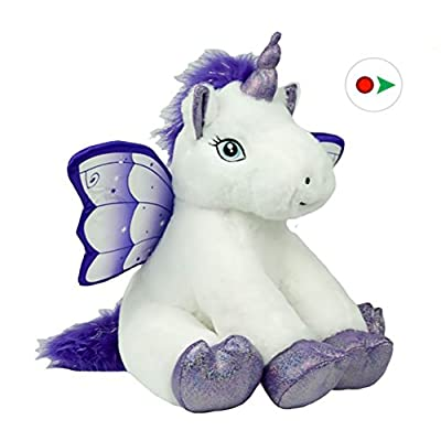 Bear Factory Record Your Own Plush 16 Inch Crystal The Unicorn - Ready 2 Love in a Few Easy Steps: Toys & Games