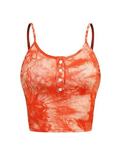(Sweetbei J Womens Sleeveless Scoopneck Button up Casual Workout Crop Cami Top Tie Dye_Orange M)