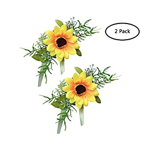 MOJUN Bride Bridesmaid Wedding Flower Corsage Wrist Flower Simulation Sunflower 38