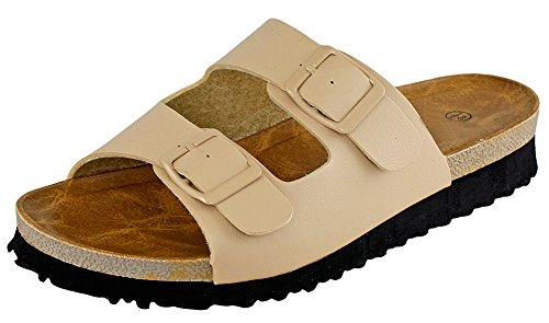 Cambridge Utvalda Womens 2-spänne Slip-on Flat Plattform Slide Sandal Beige
