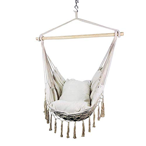 Hi Suyi Macrame Lounging Hanging Rope Hammock Chair Porch Swing Seat for Indoor or Outdoor Garden Patio Yard Bedroom with Cushion and Wooden Bar (Chairs Birdcage)