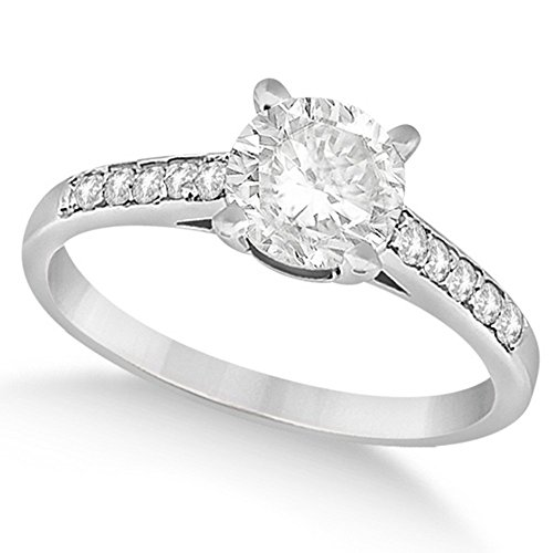 Women's Preset Round-Cut Diamond Cathedral Style Engagement Ring in 14k White Gold (0.75 carat) 3/4 Carat Round Cut Cathedral