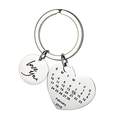 Engraving Custom Date Calendar Keychain Custom Date Pendant Key Ring for Lovers Couples Valentine's Day Birthday Anniversary Special Day Gift