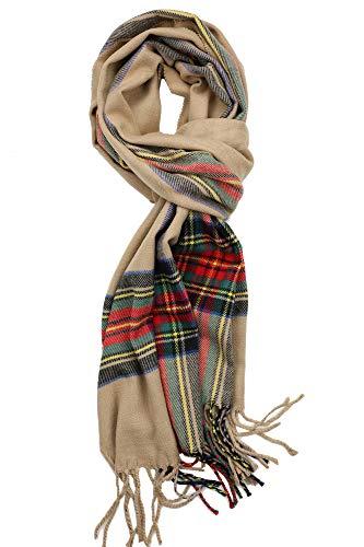 Unisex Camel - Achillea Scottish Tartan Plaid Cashmere Feel Winter Warm Scarf Unisex (Modern Camel Tartan)