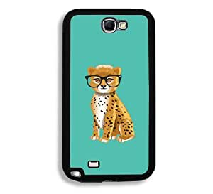 Hipster Cartoon Leoperd Samsung Galaxy Note 2 Note II N7100 Case - Fits Samsung Galaxy Note 2 Note II N7100
